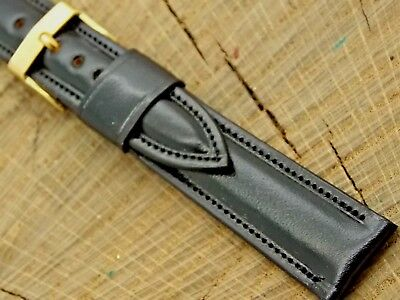 Stylecraft NOS Vintage Black Leather w Gold Tone Buckle Unused Watch Band 17.5mm