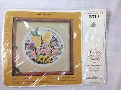The Creative Circle 0612 Butterflies Embroidery Kit New Vintage