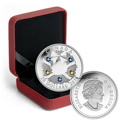 2013 Canada $20 Coin Holiday Wreath With Crystals Pure Silver Exempt Tax