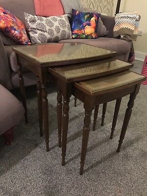 Nest Of 3 Glass Topped Wooden Tables