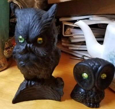 Vintage pair of Owls Figurines made of  Coal green Glass Eyes