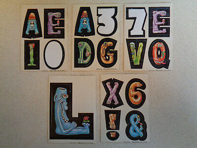 (5) 1967 Topps Nutty Initials Vintage Stickers Cards Lot L A E X 6 Rare