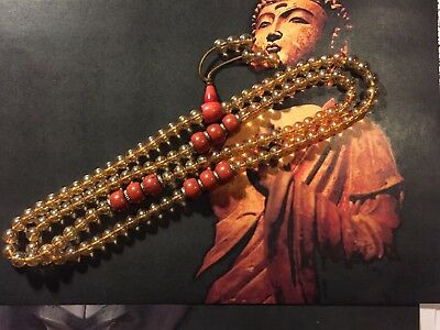 Old Tibetan Chinese glass mala prayer 108 beads with glass coral