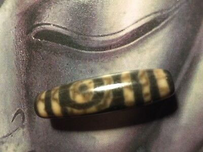 Old Tibetan agate etched two eye Dzi Gzi bead pendant amulet