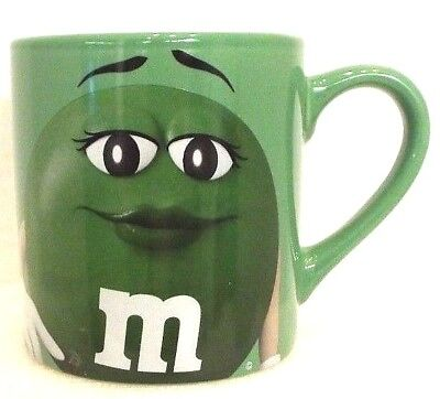 "Official License M&M's Green Ceramic Coffee Tea Mug Cup 4"" x 3.75"" Fast Shipper"