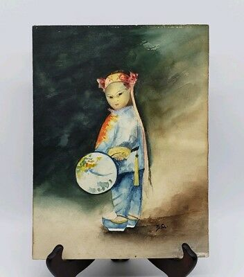 Antique Watercolor Painting Of Chinese Mandarin Boy Holding Fan Signed