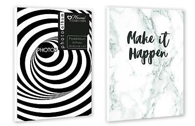 "Twin Pack Mini Pocket Photo Albums - 4""x6"" 24 Photos each - Black & White Spiral"