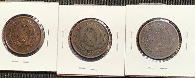 (3) 1842 & 1844 Bank of Montreal Canada Half Penny Tokens