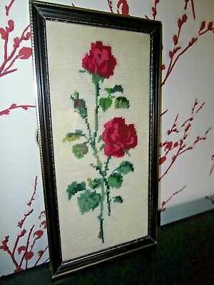 """VINTAGE HAND EMBROIDERED WOOL WORK/NEEDLEPOINT ROSE BUD PICTURE ~ 14"""" x 7"""""""