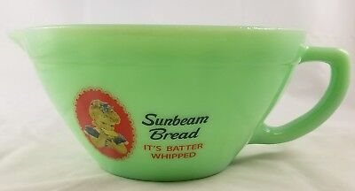 Jadite Green Glass Sunbeam Bread Advertising Batter Bowl Pitcher With Pour Spout