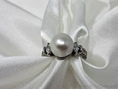 10 mm Natural Akoya Pearl w SI White Diamonds Platinum Cocktail Ring 5 3/4|14001