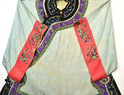 1930's Chinese Silk Embroidery Lady's Robe Jacket Parrot Bird Flower Gilt Button