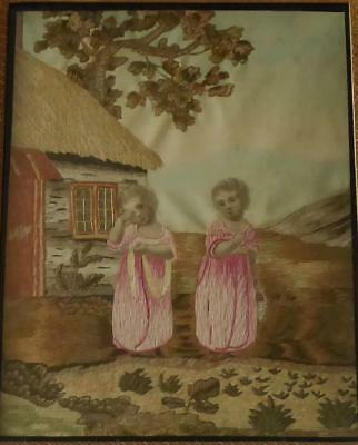 Very Fine Antique Georgian Early 19Th Century English Silk Embroidery 1820/30