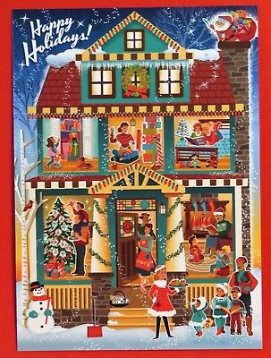 Vintage Style Christmas Card UNUSED MCM Family People In Rooms of House