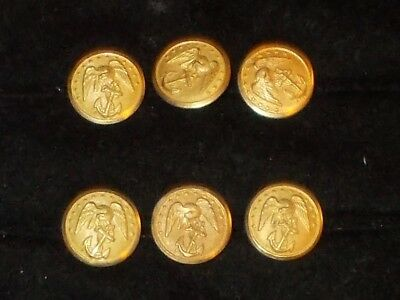 Lot of 6 rare antique N.S. Meyer Brass USMC military Uniform Buttons 5/8""