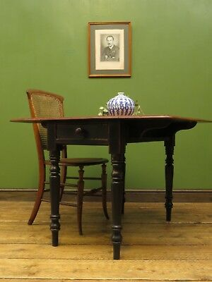 Antique Drop Leaf Kitchen Dining Table with Black Base, Shabby Chic