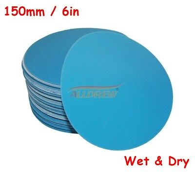 150mm Wet or Dry Sanding Discs 6in Sandpaper Hook & Loop No Hole  40 - 3000 GRIT