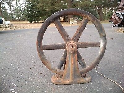 Large Antique  Industrial Cast Iron Pulley Wheel Steampunk Sculpture