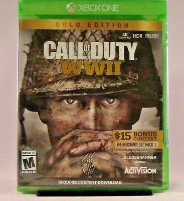 Call of Duty: WWII GOLD EDITION (Microsoft Xbox One, 2017) New!