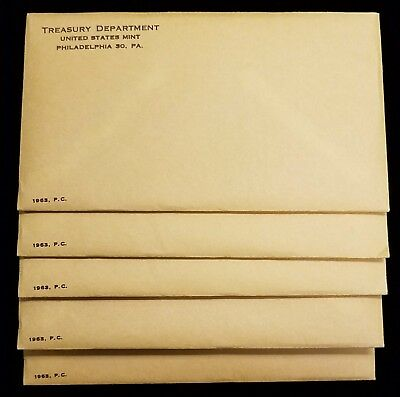 Lot of (5) 1963 U.S. Mint Silver Proof Set Sealed Unopened in Original Envelopes
