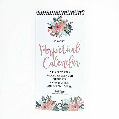 Floral Perpetual Birthday, Anniversary, Special Event Reminder Calendar Book...