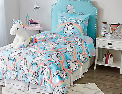 New Girls Justice Unicorn Rainbows Bed In A Bag Twin Comforter Sham