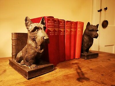 Antique 1920s Vintage Plated Metal Scottie Dog Bookends Rare and Stunning pair