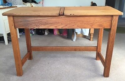 Charming, Antique vintage double school desk (oak, 1920s?)