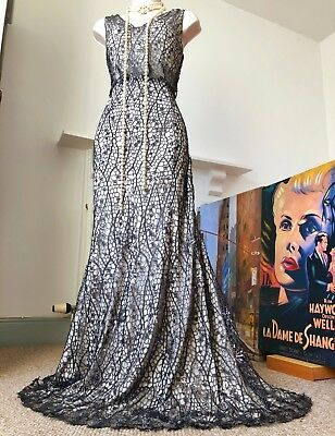 £295 Gatsby/20s PHASE EIGHT Collection 8 metallic cobweb lace embellished dr 14