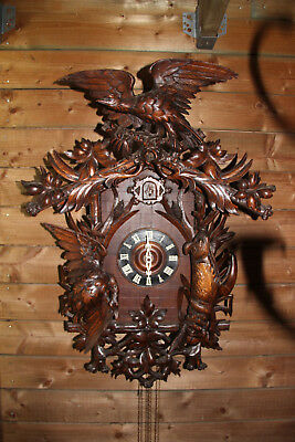 "Huge 34"" Swiss Black forest antique wood carved Cuckoo hunt trophy clock eagle"