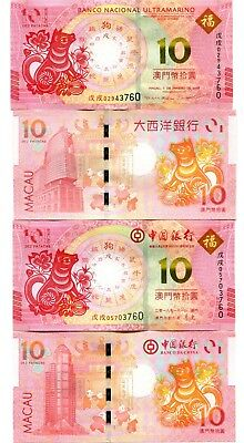 Macau 2X10 Patacas 2018 P-New Unc Commem. Year Of Dog Pair Of Notes