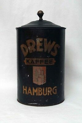 Huge Antique Cone Top Tin Canister Drew's Coffee Kaffee Tin