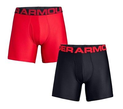 Under Armour UA TECH™ BoxerJock® 2-Pack 6-inch Solid Red Black Boxer Briefs