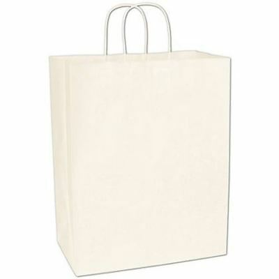 250 White Kraft Gift Merchandise Paper Bags Shoppers Escort 13 x 7 x 17""