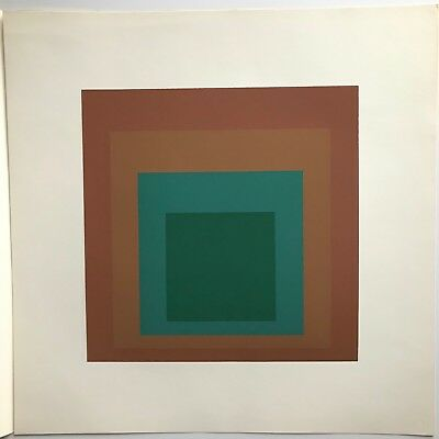 """Josef Albers Hommage to the Square 17"""" brown and green print by Ives Sillman"""