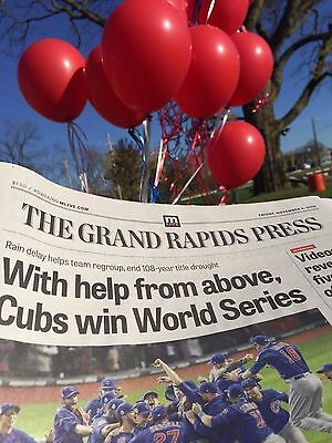 CHICAGO CUBS WORLD SERIES CHAMPS Grand Rapids Press NEWSPAPER WRIGLEY flytheW !!