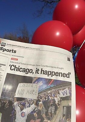 CHICAGO IT HAPPENED CUBS WORLD SERIES CHAMPS Grand Rapids Press NEWSPAPER 4NOV16