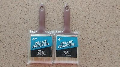 """4/"""" VALUE PAINTER PAINT BRUSH FOR ALL PAINTS POLYESTER TRIM RUBBERSET"""