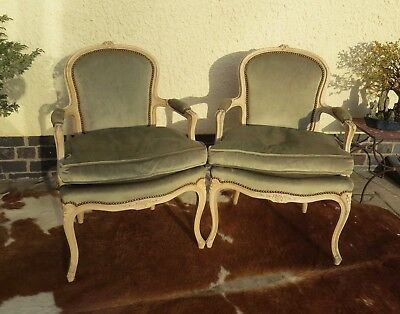 Lovely Pair Of Antique French Louis Xvi Style Painted Beech Wood Arm Chairs