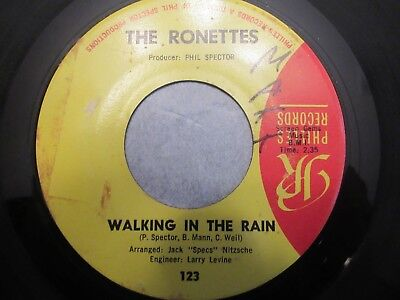 The Ronettes Walking In The Rain How Does It Feel picture sleeve 45 rpm MISPRINT