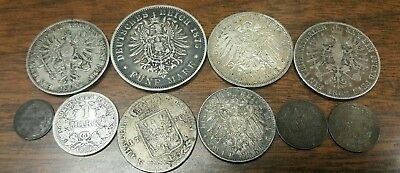 LOT OF 10 GERMANY 1800's SILVER THALER, 5 MARK, 3 MARK****