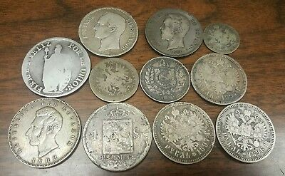 11 LARGE OLD 1800's SILVER FORIEGN COINS****