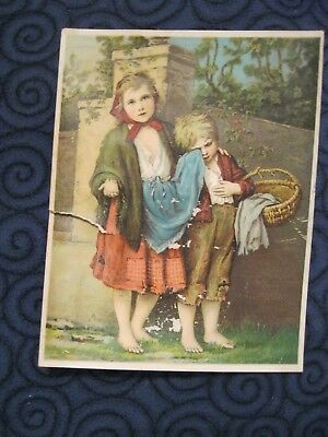 Victorian Trade Card A.G. Holcomb Trenton NJ SAD Beggar Children Dr Jaynes 83