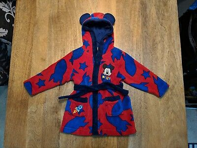 Disney Mickey Mouse Childrens/Baby Dressing Gown Size 12-18 Months Soft VGC UK