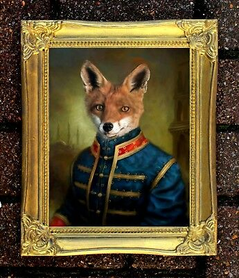 """""""Major Fox"""" Fine Oleograph on Canvas after Thierry poncelet"""