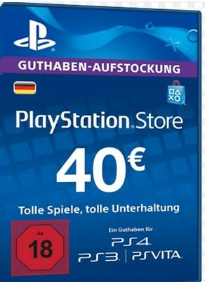 40€ Eur DE Playstation Network Card - Sony PSN PS3 PS4 PS Vita 40 Euro Guthaben