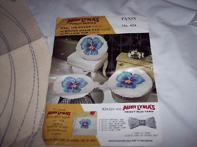 Vtg Aunt Lydia's Punch Needle Pansy Chair Pad/Pillow Top #424