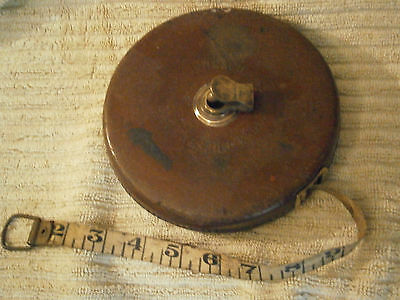 Vintage English wind up tape measure in leather case -100 feet