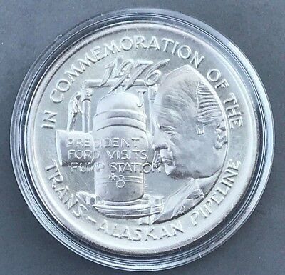 1976 Trans-Alaskan Pipeline Certified Mint Silver Round Gerald Ford Visit