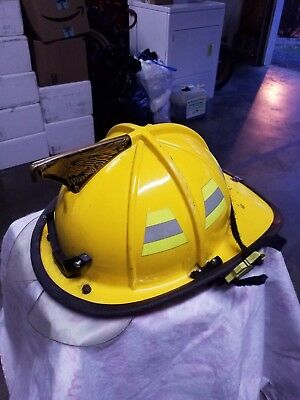 CAIRNS MODEL 1010 FIRE HELMET WITH DEFENDER SHIELD and Bourkes